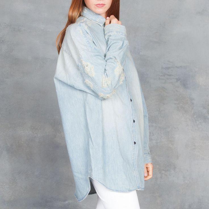 Iro Prune Oversize Denim Top Stone Blue – Tamarind