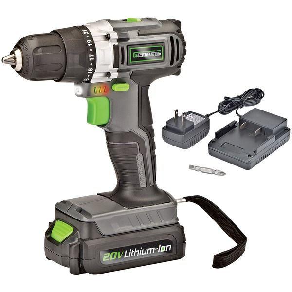 Genesis Tm Glcd2038a 20 Volt Cordless Li Ion 2 Speed Drill Driver Speed Drills Drill Drill Driver