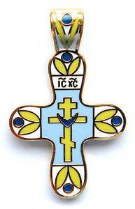Croix orthodoxe, Bijou émaillé Pendentif Croix plaqué Or, Cadeau Paques CROIX