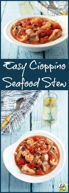 Need a fish stew recipe? Click to get this Easy Cioppino Seafood stew recipe made from fresh and frozen seafood.