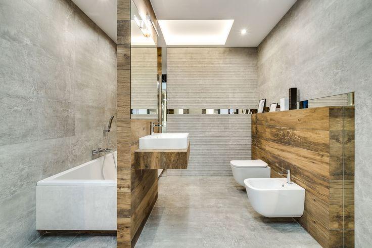 Ekspozycja Max-Fliz łazienka, płytki drewnopodobne, płytki marmur, oświetlenie sufitowe, umywalka nablatowa, styl skandynawski, lustro. Łazienka Najwyższej jakości Płytki łazienkowe i kuchenne