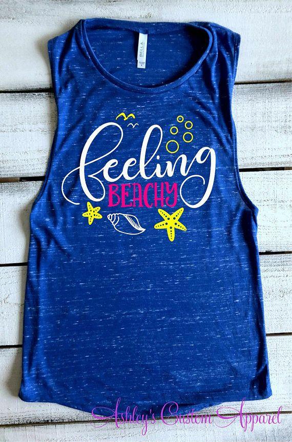 dc6bbf99b23c55 Beach Vacation Shirts Funny Beach Tank Top Feeling Rather Beachy Flowy  Bella Muscle Tank Summer Vacation Shirt Cruise Shirt Beach Cover Up