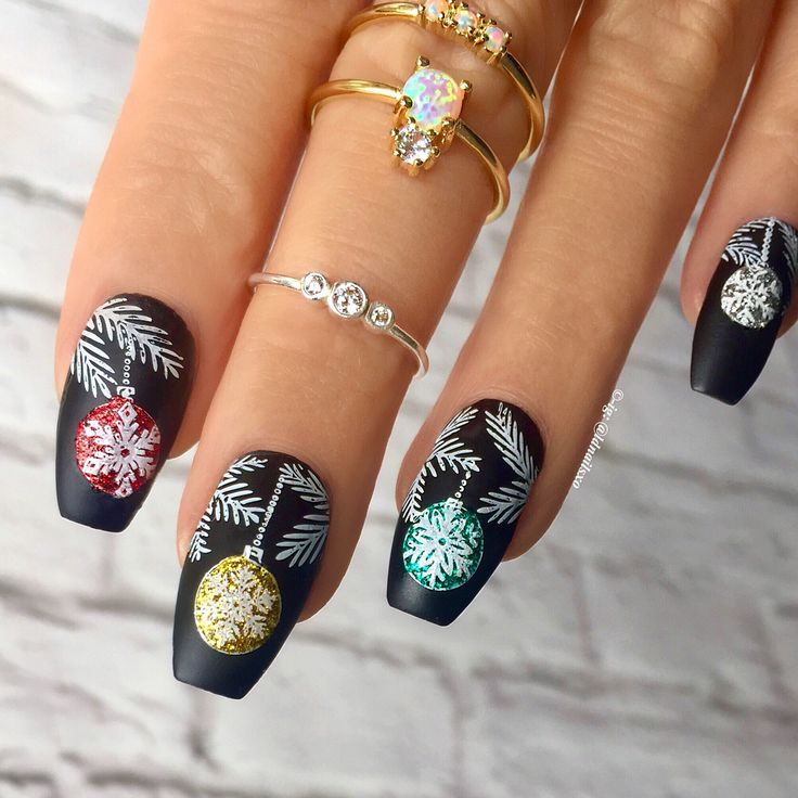 Christmas Baubles Nails / Nail Art - Click link below this photo for full description ©-ig: @ldnailsxo - - Opal & CZ Rings are from Indigolune.com