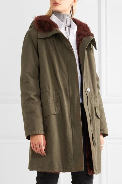 Yves Salomon - Shearling-lined Cotton-twill Parka - Army green - FR34