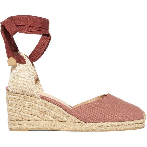 Castañer Carina canvas wedge espadrilles (125 AUD) via Polyvore featuring shoes, sandals, espadrille wedge sandals, canvas wedge shoes, castaner espadrilles, rose shoes and canvas espadrilles