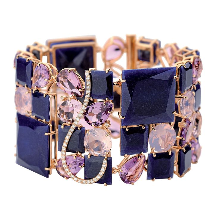 Bracelete de ouro, quartzo, ametistas e diamantes, The Graces
