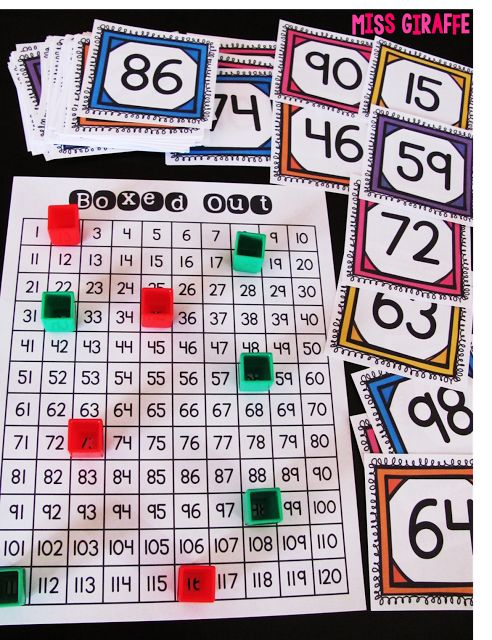 Boxed Out 120 chart game that is super fun! Directions in the post! Building Number Sense in First Grade #mathgames