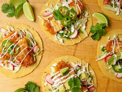 Baja-Style Fish Tacos - These beer-battered fish tacos make dinner time fun!