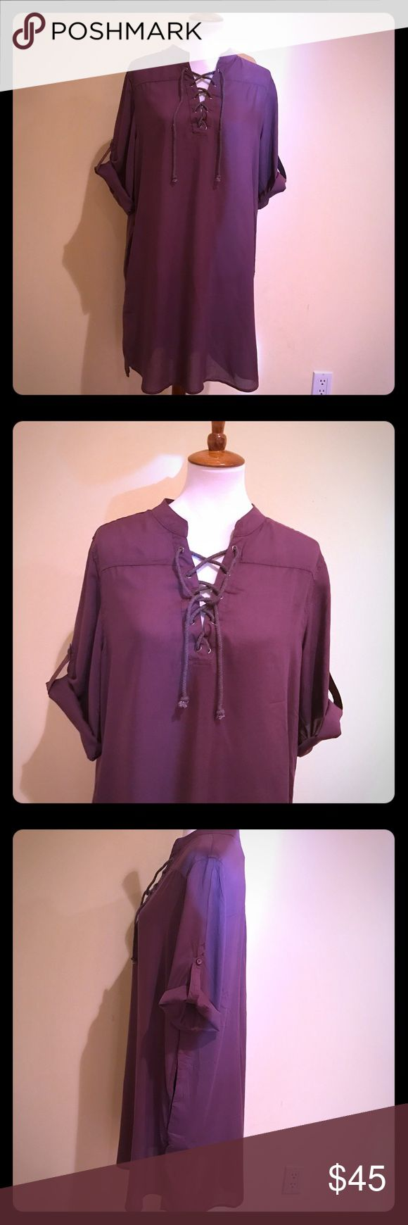 Purple Shirt Dress rolled sleeves laced Neckline Pretty purple shirt dress with shoe lace Neckline and rolled sleeves. Fits to size Dresses Mini