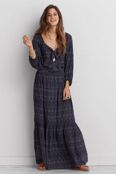 American Eagle Outfitters American Eagle Long Sleeve Maxi Dress