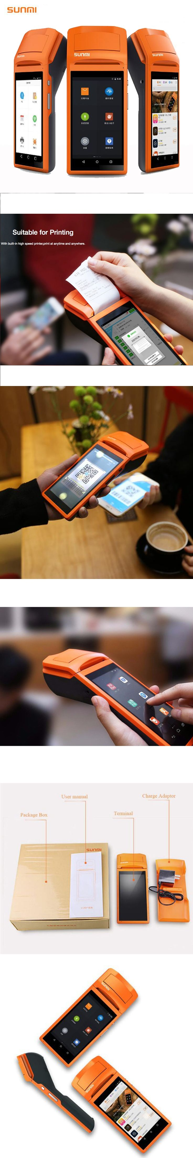 "5.5"" Display Wifi /3G/Bluetooth Handheld Mini Android Pos Terminal with Thermal Printer Barcode Scanner"