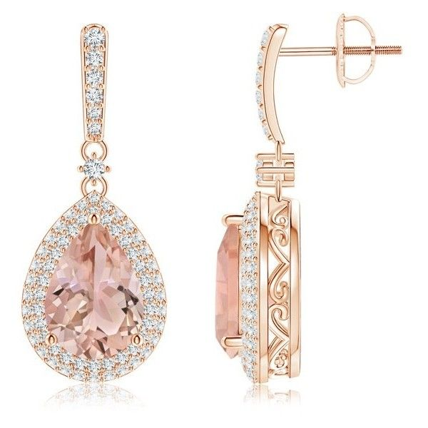 Vintage Diamond Double Halo Morganite Drop Earrings (€2.660) ❤ liked on Polyvore featuring jewelry, earrings, morganite, peach earrings, diamond drop earrings, sparkly earrings, diamond jewellery and diamond earring jewelry