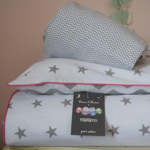 100-COTTON-Cot-Bed-Duvet-Cover-Set-Baby-Grey-Stars-Chevron-reversible-bedding