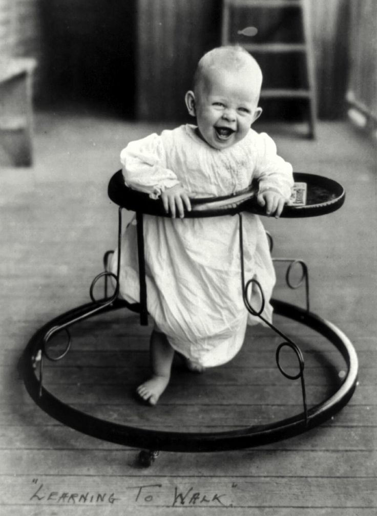 Learning To Walk A Joyful Baby Takes A Spin In A Walker