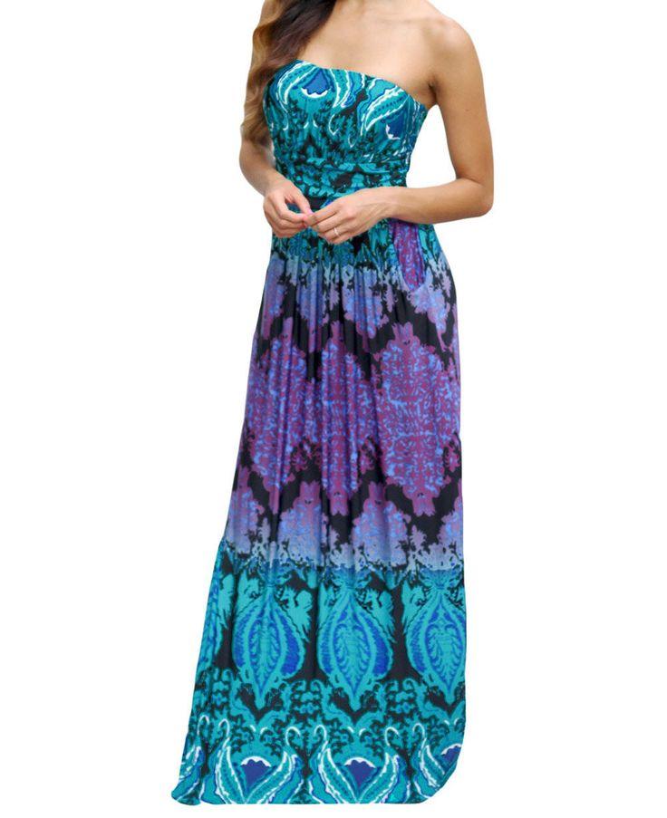 Aqua Purple Strapless Maxi Dress with Pockets