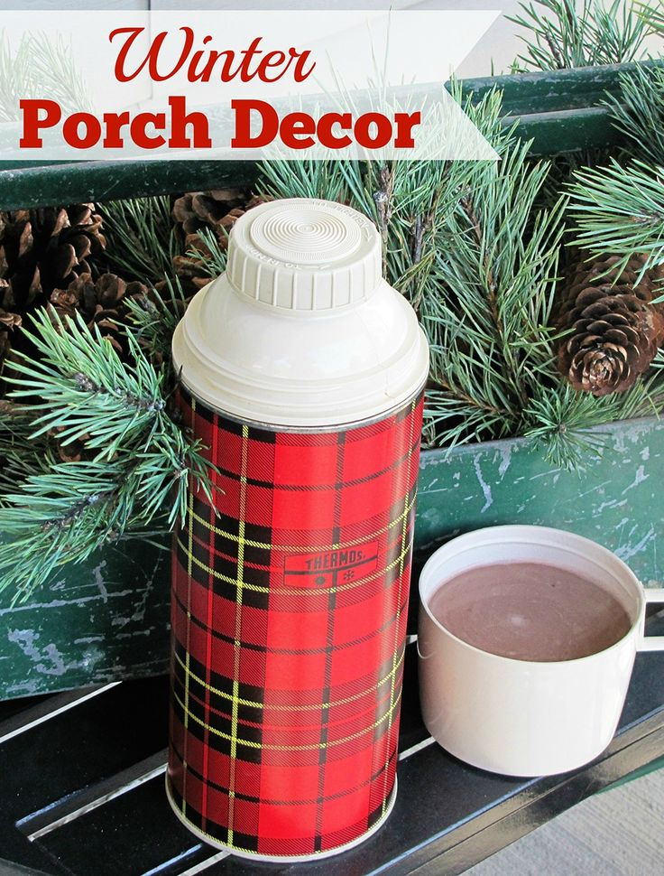 Festive DIY winter front porch decor including lots of vintage and thrift store decorating ideas.  And best of all , it easily transitiions from Christmas to generic winter decor.  via houseofhawthornes.com