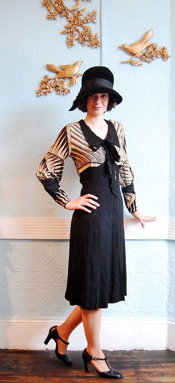 Vintage 1930s Dress 30s Dress Black & Tan Art by concettascloset