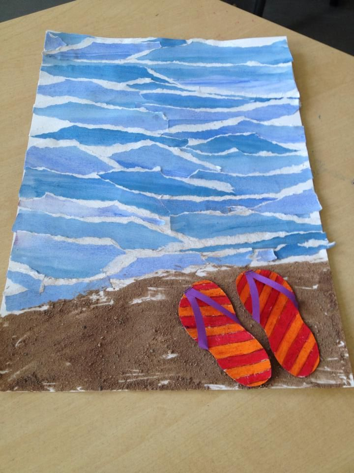 End of year art. Instead of torn water coloured paper, use crayon water resist method to make the wave pattern. Sand mixed in glue for beach. Construction or scrapbook paper sandals.