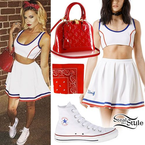 Chanel West Coast posted an instagram photo a few days ago wearing the UNIF Squad Crop Top ($68.00) and UNIF Squad Skirt ($82.00) with white Converse Chuck Taylor All Star Core Hi Sneakers ($55.00), a Louis Vuitton Alma BB Handbag ($1,820.00) in Cherry Monogram Vernis Leather, and a red bandana similar to this from Amazon ($0.44+).
