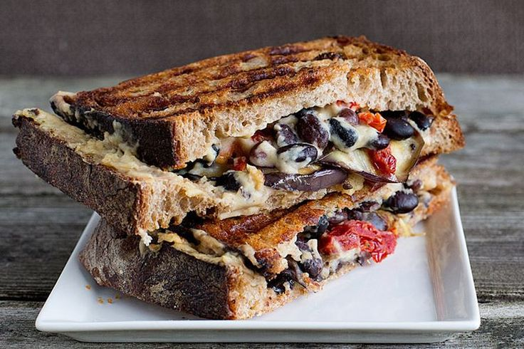 One of the best ways to cook something is inside of a bread, in a panini maker. Like this Eggplant Hummus Vegan Panini!