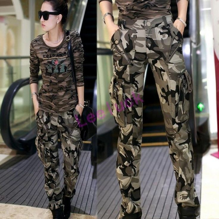 Womens Overalls Trousers Outdoor Military Army Fashion Camo Cargo Pocket Pants