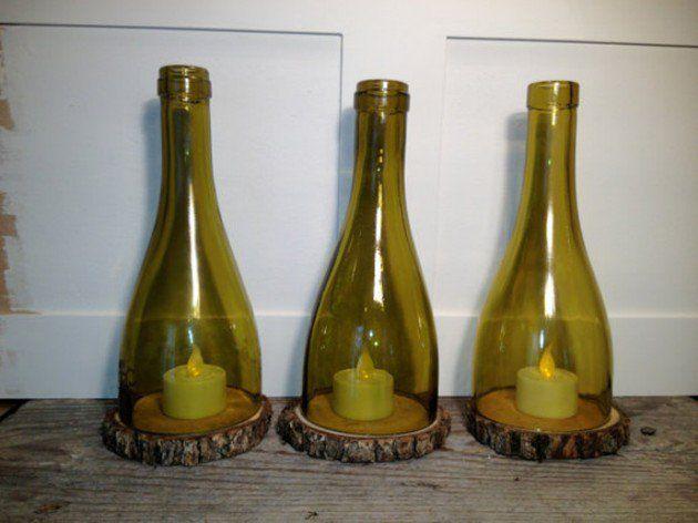 portavelas en botellas vino cortadas | Ayuda para Manualidades