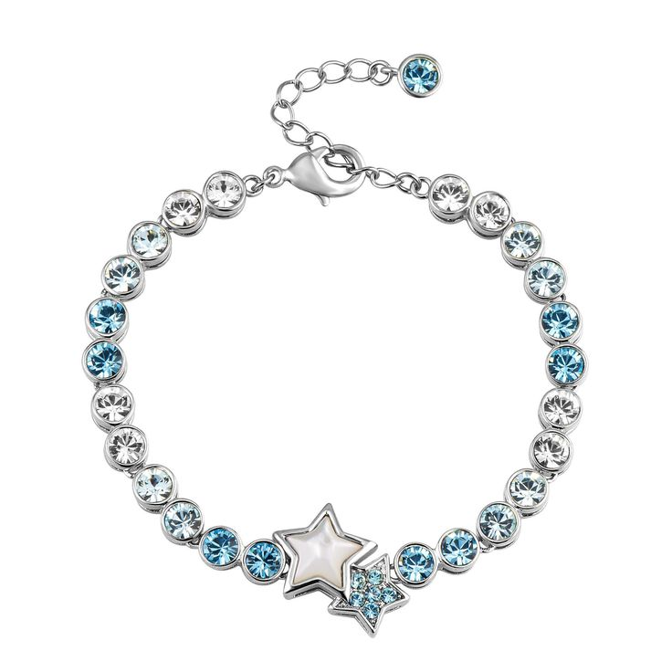 Guiding Star Crystal Bracelet in silver & blue