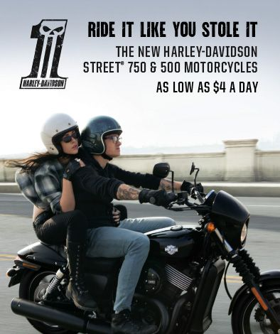Own the new Harley-Davidson Street™ 750 & 500 motorcycles for as low as $4 a day (limited time offer). Ride it Like You Stole it. Learn More: http://www.lawlessofrenton.com/buy-your-bike-with-Harley-Davidson-credit--financing