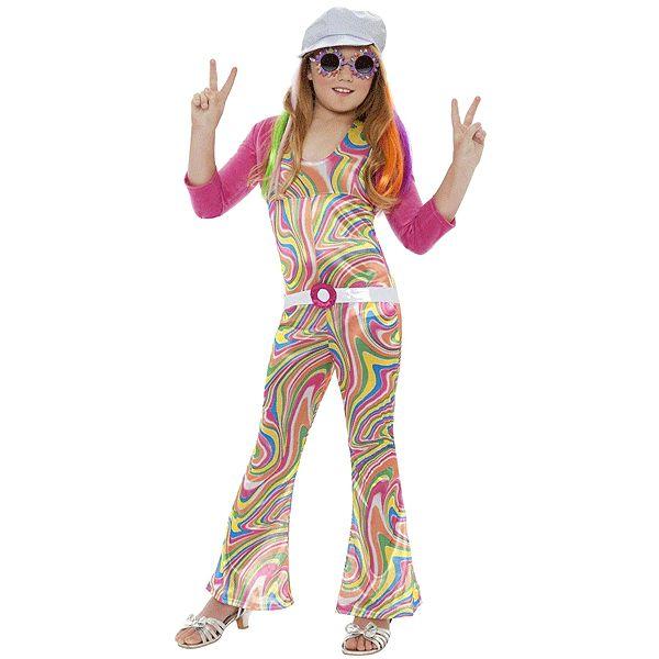 Groovy jaren 70 kostuum voor meisjes. Opvallende groovy kostuum voor meisjes dat bestaat uit de jumpsuit, jasje, riem en petje. Carnavalskleding 2015 #carnaval