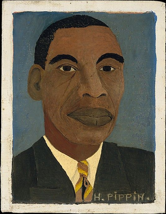 Horace Pippin 1888-1946 born in West Chester, Pennsylvania, and grew up in Goshen, New York. Pippin served in the 369th infantry during WW I, where he lost the use of his right arm after being shot by a sniper. Pippin initially took up art in the 1920s to strengthen his wounded arm; his activity as a painter began in earnest around 1930, when he completed his first oil painting.  Self-Portrait, 1944