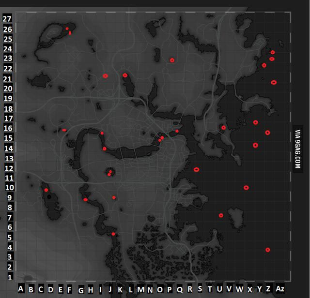 A map of all underwater things in Fallout 4, from chests to easter eggs. - 9GAG