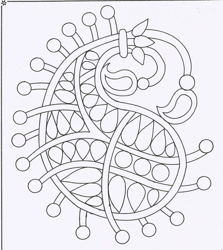Embroidery pattern simple doodle filled paisley