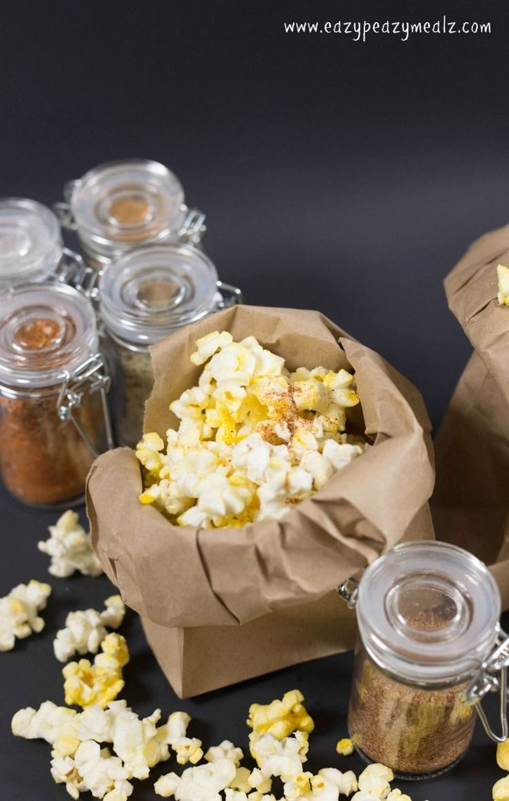 How to Make Your Own Flavored Popcorn Seasonings - lots of different recipes that'll please everyone! Via Eazy Peazy Mealz