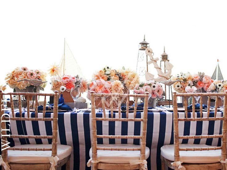 Canvas Blue U0026 White Stripe Table Linen | Greys Like Weddings | Troy And  Aimee Grover