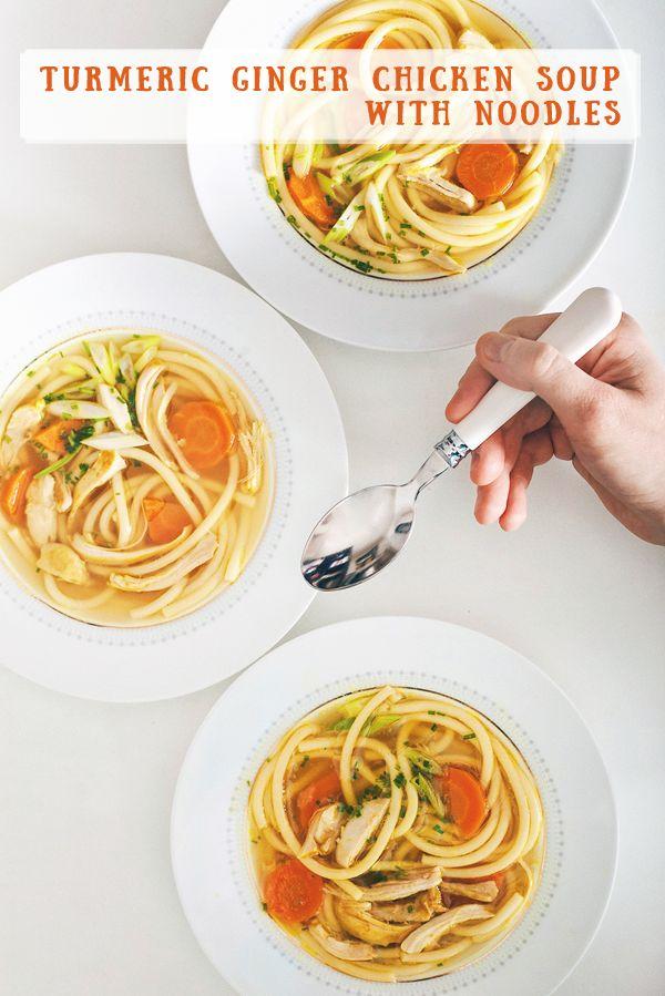Turmeric ginger chicken soup with noodles Kurkumová slepačia polievka so zázvorom