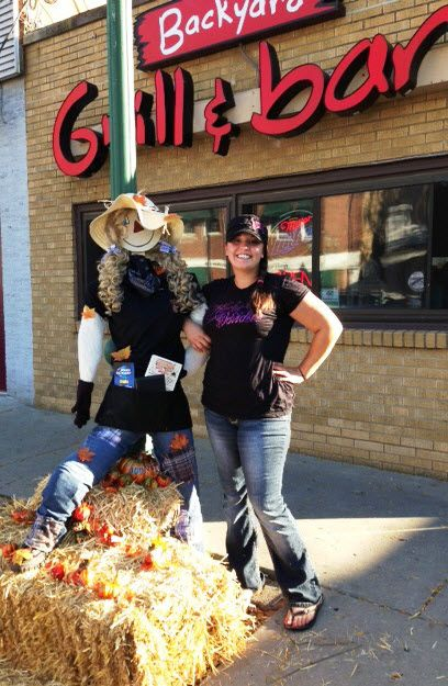 This is our Bartender Nicole who decorated the BYG Scarecrow for Cherry Valley's Scarecrow contest Sept 2013 sponsored by the Cherry Valley Public Library. You can vote for your favorite scarecrow at the Cherry Valley Library or participating businesses. Come visit Cherry Valley between Sept 27th & Oct 30th to see all the scarecrows.