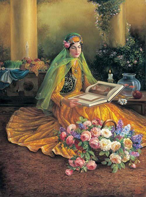 Persian art    reading hafez