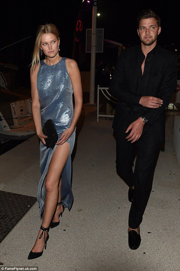 Cute couple: Toni Garrn (left) and boyfriend Chandler Parsons (right) party-hopped across Cannes on Monday night
