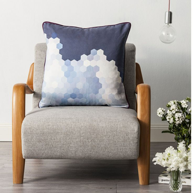 Cloud Cushion by Cumulus Living.  Printed linen piped and back in velvet.  60cm feather filled