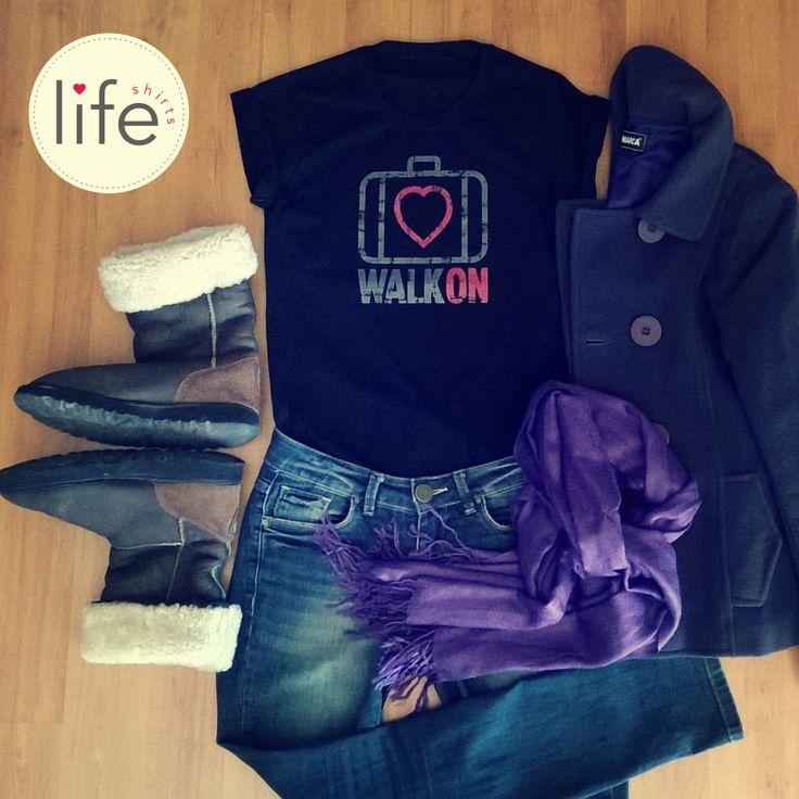 Look Life Walk On! Camiseta personalizada de música da banda U2. Look inverno. Winter. Black. T-shirt exclusiva!