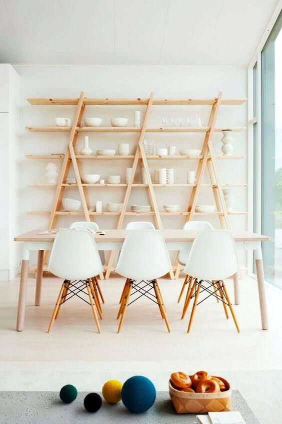 77 Gorgeous Examples of Scandinavian Interior Design White-Scandinavian-dining-room-with-open-shelving