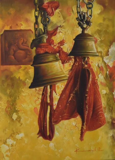 Ringing Bell in Temple imdicates the auspicious sound. Re-create the ambience in your home with this #Kamal #Rao #painting #art #artist #artistic #artlove #artlover #loveart #painting #paintingstyle #color #gallery #decor #homedecor #officedecor #picture