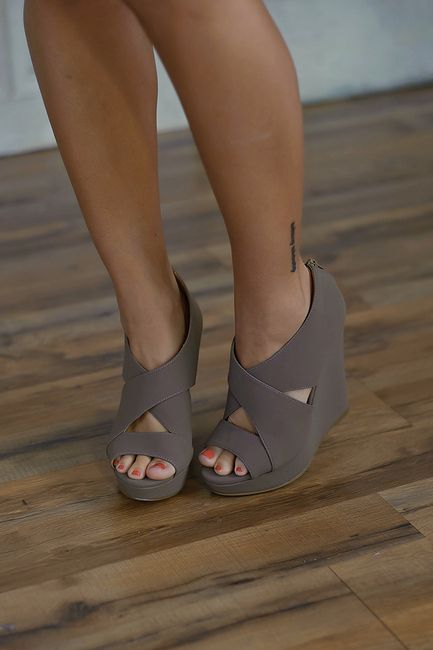 Madison Wedge (Taupe) - PiaceBoutique.com $34.99