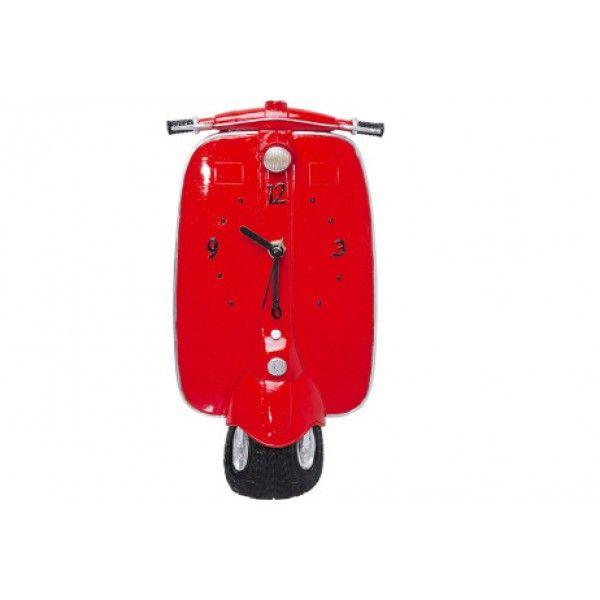 Relógio de parede Moto Vespa, Medidas: 27x14,4x4,5cm,  Cor: Vermelho com detalhes preto e cinza