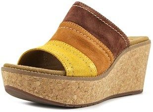 Clarks Artisan Aisley Lily Women W Open Toe Suede Multi Color Wedge Sandal.