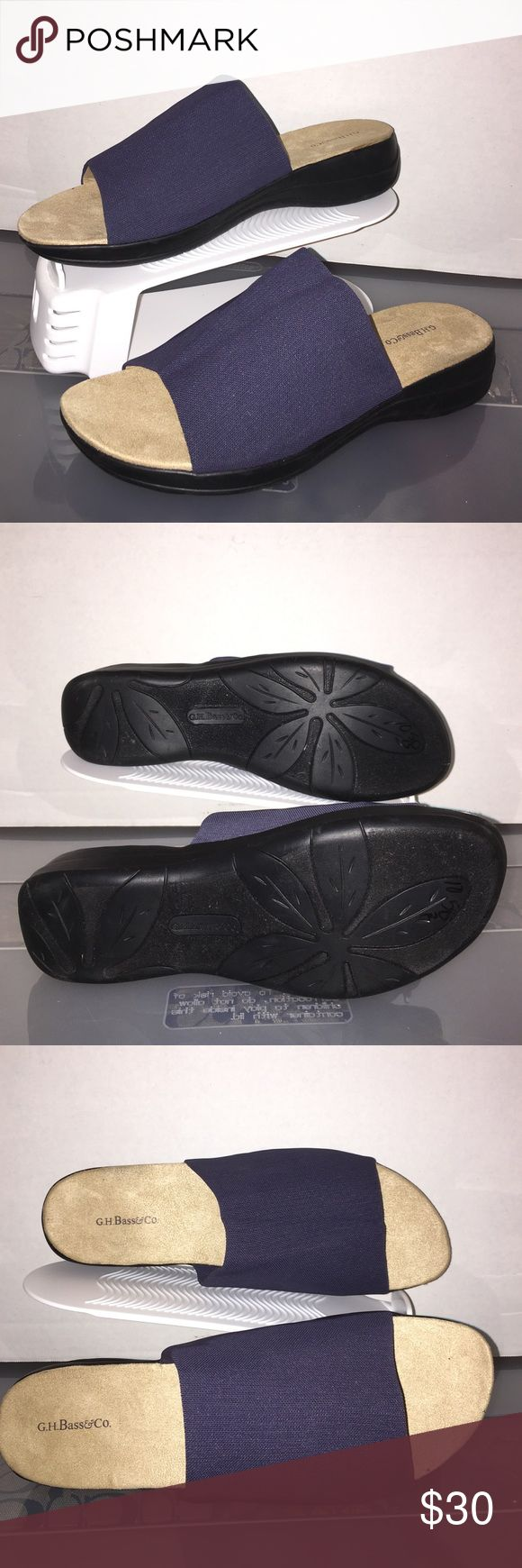 """Clarks New Women's """"Gemma"""" Clarks sandals. Navy blue fabric and tan suede soles. Size 10M Clarks Shoes Sandals"""