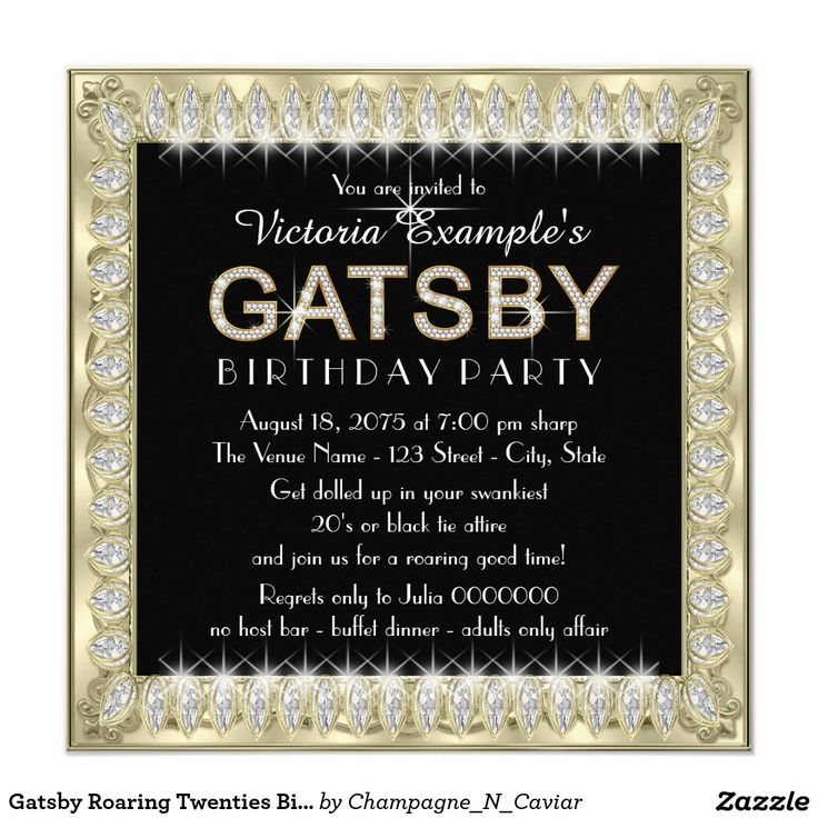 253 best womans birthday party invitations images on pinterest gatsby roaring twenties birthday party card stopboris Images