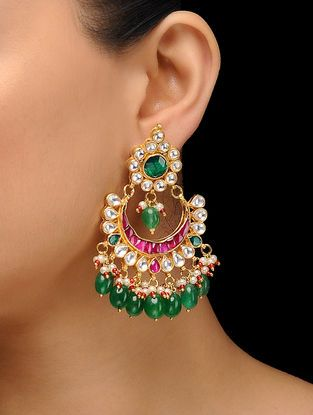 57061a251 Pink-Green Gold Plated Kundan Inspired Brass Earrings