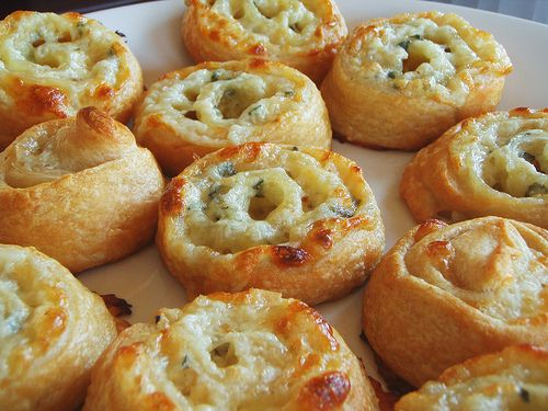Easy Three Cheese Pinwheel Appetizers ~ ready-made puff pastry, cream cheese + 2 others of choice, herbs and/or ...maybe some sliced black olives/tapenade?