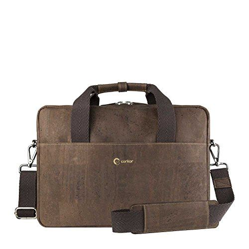 """Corkor Men's Briefcase Handbag Shoulder Bag 15"""" PETA WINNER Dark Brown Cork. PETA.DE Winner - Best Men's Bag 2015. Made From Cork - Sustainable alternative to animal leather. Ultra soft cork exterior with cotton lining. Top zipper closure. Removable and adjustable shoulder strap. Two handles. Comfortably holds a 15,6"""" laptop + 10"""" tablet + smartphone up to 6"""" + 2 pens + keys + chargers. Padded for extra protection."""